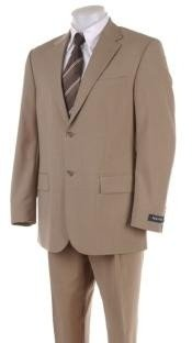 Mens 2 Two Button Super 100s HW0462 Coffe ~ Tan ~ Beige