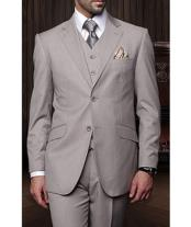 Confidence Mens Tan 3 Piece 2 Button Italian Designer Fine Brands