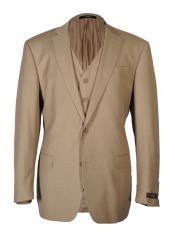 Vitarelli Mens 2 Button Fashion Fit Cut Vested Suit Tan