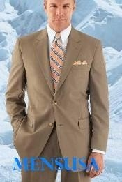 Mens Modern Tan ~ Beige 2-button with Double Vent Super 120s Wool Business ~ Wedding 2 piece