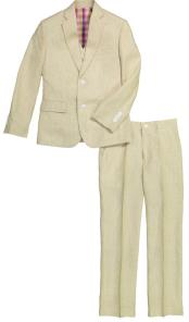 2 Button Notch Lapel 3 Pc Kids Sizes Tan Linen Suit Perfect For boys wedding outfits And