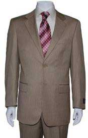Two Button Tan ~ Beige Mini Pinstripe Cheap Priced Business Suits