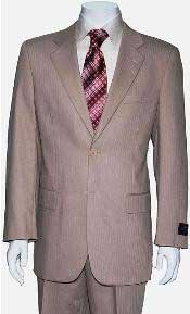 Mens Two Button Tan ~ Beige Shadow Stripe ~ Pinstripe Suit