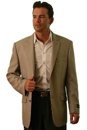 Two Button Cheap Unique Dress Blazer Jacket For Men Sale Beige ~ Khaki ~ Tan