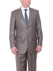 Mens 2 Button Big & Tall Taupe Classic Fit Side Vents Textured