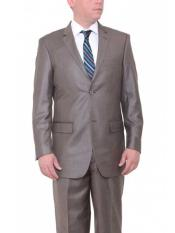 Mens Two Button Big & Tall  Classic Fit Textured Taupe Brown