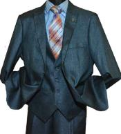 Mens Suit Vested Three Piece Suit Teal Blue - Denim Color
