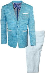Single Breasted 2 Pc Notch Lapel Kids Sizes Teal Linen Tonal