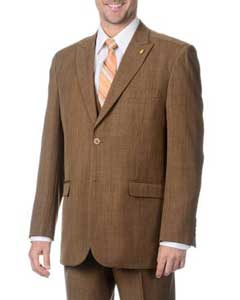 Two Button Peak Lapel Lapeled Vested Three Piece Pleated Pants Light Brown ~ Coffee ~ Toast Suit