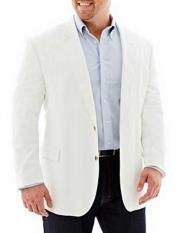 Mens Linen Cotton 2 Button White Long Sleeves Sport Coat Blazer