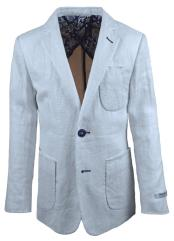 Boys 2 Button Single Breasted White Linen Blazer