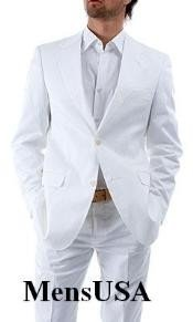 Elegant Two Button Notch Lapel Side Vented Snow White Suits For