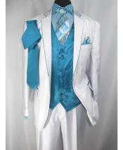 Notch Lapel Single Breasted 2 Button Trimmed Satin Vest White/Turquoise Suit
