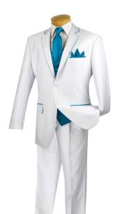 5 Piece Trimmed Jacket with Single Pleat Pants White/Turquoise