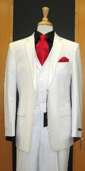 Button Tapered Cut Flat Front White three piece suit