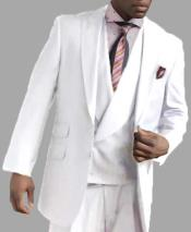 Two Button Single Breasted White Peak Lapel Vested Side Vent Suit