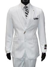Men's Single Breasted 2 Button Vested Striped Pattern White 3 Piece