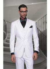 Confidence Mens Solid White 2 Button Modern Fit Wool Suit
