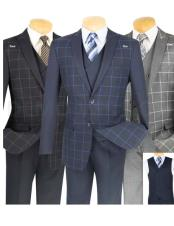 Plaid ~ Windowpane Slim Fit Blazer ~ Sport Jacket Available in Black/Blue/Gray Color