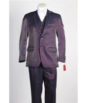 Mens 2 Button Vested Wine ~ Burgundy~Purple Fashion Burgundy Suit  with