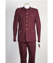diamond nail heads 2 Piece 2 Button Safari Military Style Suit