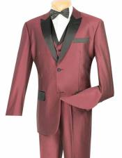 Vinci Two Button Mens Shiny Wine Peak Collar 3 Piece Tuxedo Entertainer