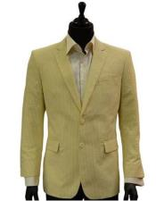 Mens Two Button Yellow White Classic Seersucker Sear sucker suit Trending Formal