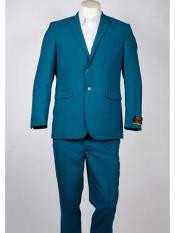 2 Button Aqua ~ Turquoise Color Notch Lapel Single Breasted Summer