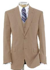 2 Button Wool Vested Beige Suit with Pleated Trousers