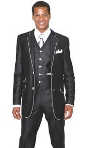 Mens 2 Button 3 Piece  Church Suit Black White Trim Lapel