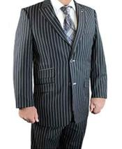 Stacy Adams Brand 2 Button Black Peak Lapel Gangster Stripe Scoop Revo Vested Suit