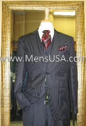 Button 3 Piece Black Pinstripe Fitted Suit