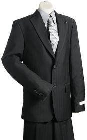 2 Button Kids Sizes Black Pinstripe Designer Suit Perfect For boys