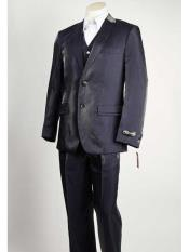 2 Button Vested Shiny Closure Black Pinstripe Suit