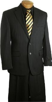 2 Button slim Fit Black Pin Stripe ~ Pinstripe Suit Black