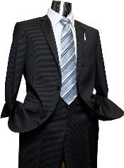 Suit Separate Mens 2 Button Black Pinstripe Designer Suit Black