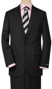 Mens Quality 2 Buttons Portly Suits Solid Black