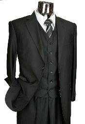 Mens Black 6 button vest single three piece suit