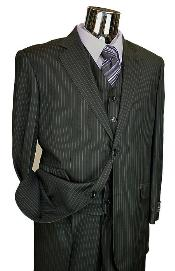 Mens Black Stripe ~ Pinstripe Vested 3 Piece 2 Button Flat Front