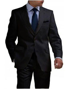 Black 2 Button Tapered cut Half Lined Linen suit for Men