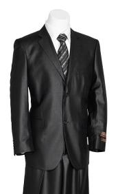 SKU#KA7416 Vitali Men's 2 Button Black Shark Skin Suit