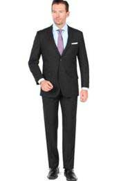 2 Button Closure Slim Fit Suit Black Cheap Priced Business Suits