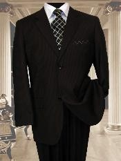 Mens 2 Button Extra Long Black Mens Business ~ Wedding 2 piece Side Vented Suit With a