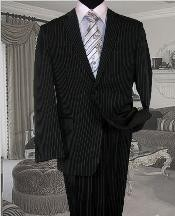 Black With White Pinstripe Conversative 2 Button Flat Front Mens Suit