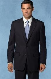 Mantoni Wool Super 140s Brand Two Buttons Mens Jet Black Flat Front Suit Regular fit or Slim
