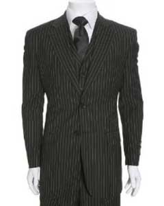 Beautiful Mens 2 Button 3 Piece Black & White Stripe ~ Pinstripe Bold Chalk Pinstripe Suit