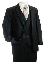 piece Vested 2 Button Black Tone/Tone Men Suit Black  2 Piece Suits - Two piece Business
