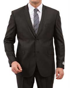 2 Button Front Closure Side Vent Suit Black