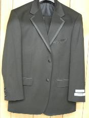 Button Solid Black Tuxedo with Black Trim No pleated pants Wool