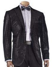 Mens Black Two Buttons Shimmer-Patterned Blazer with Velvet trim